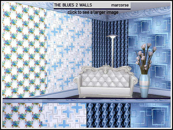 Sims 4 The Blues 2 Walls by marcorse at TSR