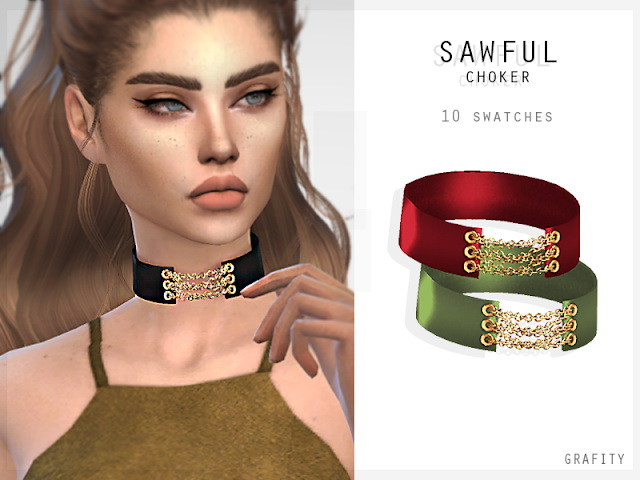 Sims 4 SAWFUL CHOKER at Grafity cc