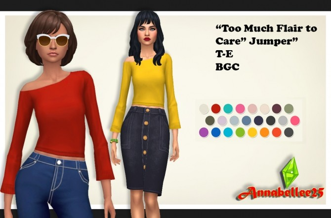 Sims 4 Too Much Flair to Care Jumper by Annabellee25 at SimsWorkshop