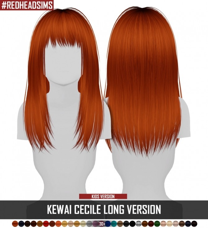 KEWAI CECILE LONG VERSION HAIR KIDS VERSION at REDHEADSIMS image 5911 670x736 Sims 4 Updates