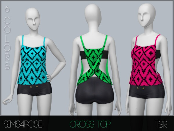 Cross Top by Sims4Pose at TSR image 6 Sims 4 Updates