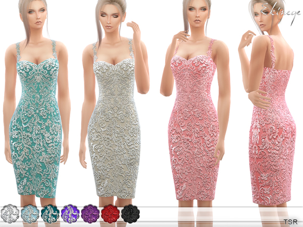 Beaded Lace Appliques Dress by ekinege at TSR image 6223 Sims 4 Updates