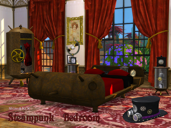 Sims 4 Bedroom Steampunk by ShinoKCR at TSR