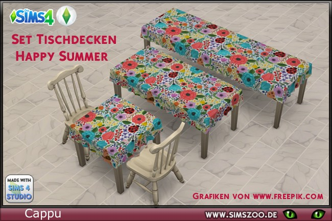 Happy Summer Tablecloth set by Cappu at Blacky's Sims Zoo image 6416 Sims 4 Updates