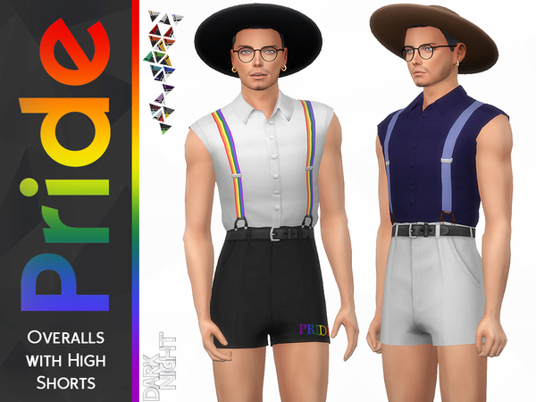 Pride Collection Overalls with High Shorts by DarkNighTt at TSR image 658 Sims 4 Updates