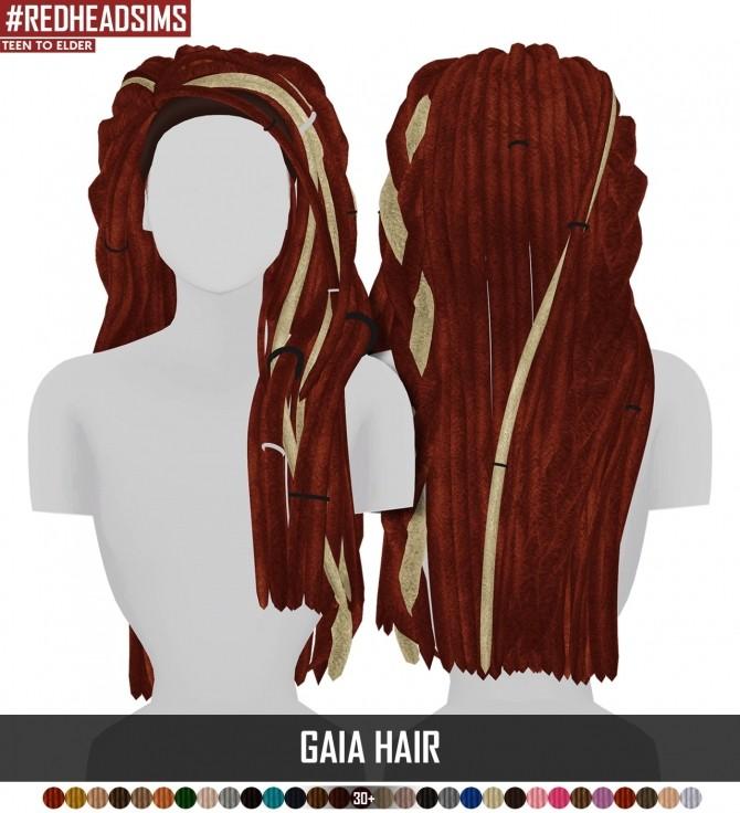 Sims 4 GAIA HAIR + BRAIDED VERSION by Thiago Mitchell at REDHEADSIMS