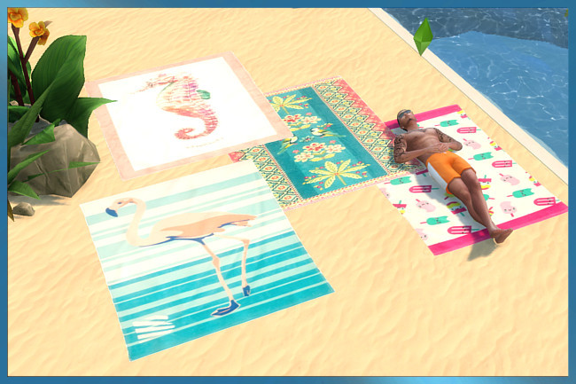 Beach towel by weckermaus at Blacky's Sims Zoo image 699 Sims 4 Updates