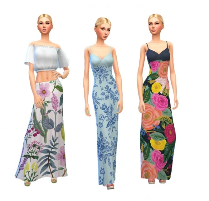 Sims 4 Rifle Paper Maxi Dresses & Skirts at SimPlistic