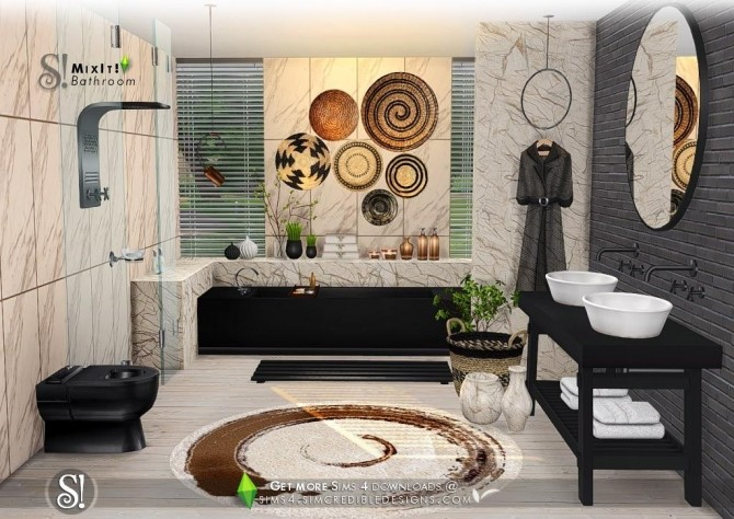 Mix It Bathroom Set At Simcredible Designs 4 187 Sims 4