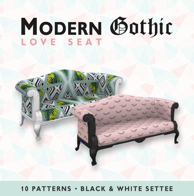 Sims 4 Modern Gothic Love Seat at SimPlistic