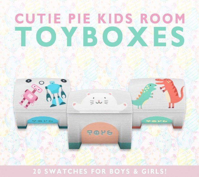 Sims 4 Cutie Pie Kids Room toyboxes at SimPlistic
