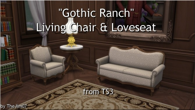 Gothic Ranch Living Chair & Loveseat by TheJim07 at Mod The Sims image 807 670x377 Sims 4 Updates