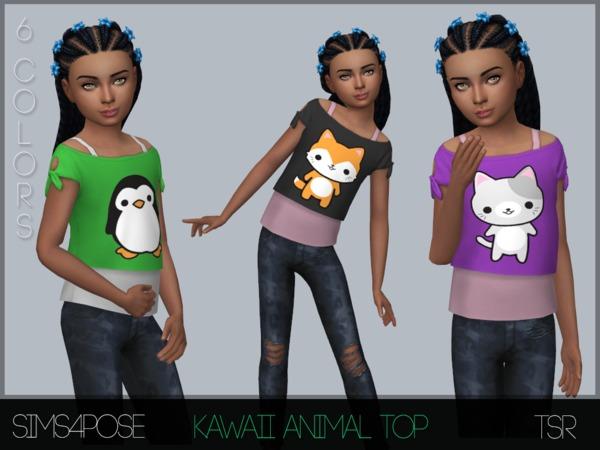 Sims 4 Child Kawaii Animal Top by Sims4Pose at TSR