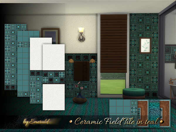 Sims 4 Ceramic Field Tile in teal by emerald at TSR