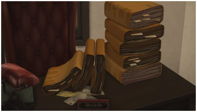Sims 4 Old Battered Luggage and Stacks of Old Papers at Josie Simblr