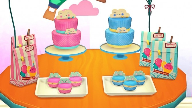 Sims 4 Baby Shower Deco Cloud Cake and Cupcakes at Josie Simblr