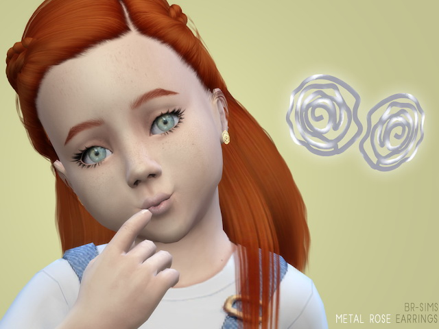 Metal Rose Earrings for Child and Toddler at BlueRose Sims image 909 Sims 4 Updates