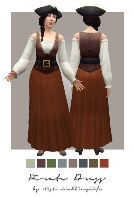 Sims 4 Pirate Dress at Historical Sims Life