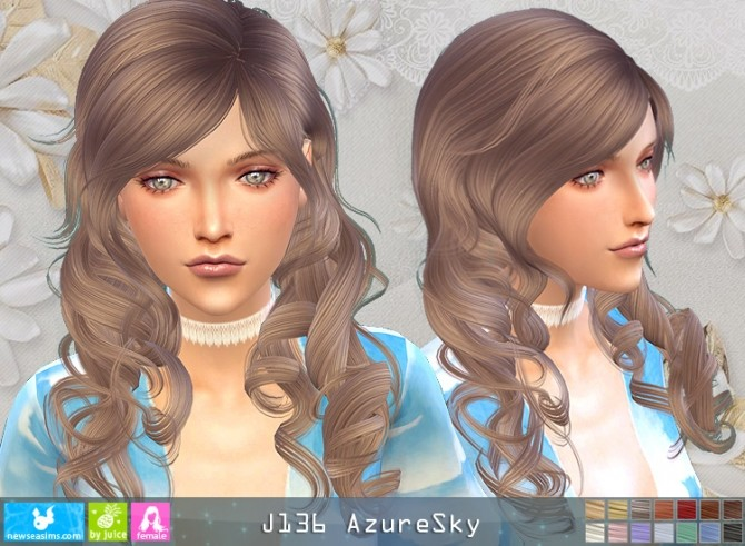 Sims 4 J136 AzureSky hair (P) at Newsea Sims 4