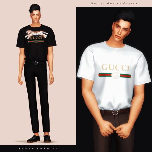 Brand T Shirt & Ring Buckle Belt Slacks at Gorilla image 992 Sims 4 Updates