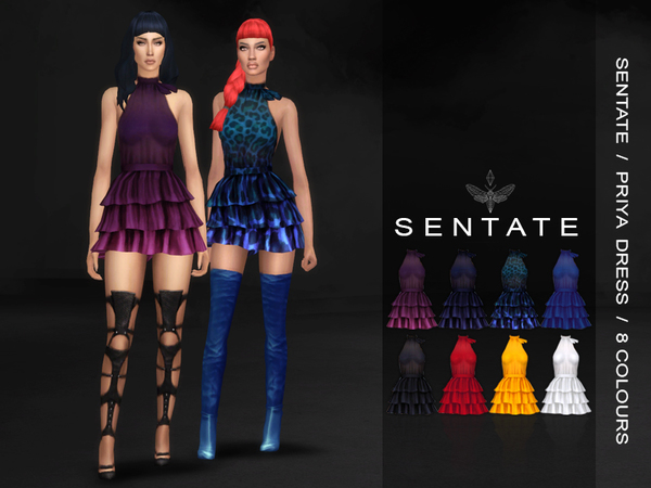 Sims 4 Priya Dress by Sentate at TSR