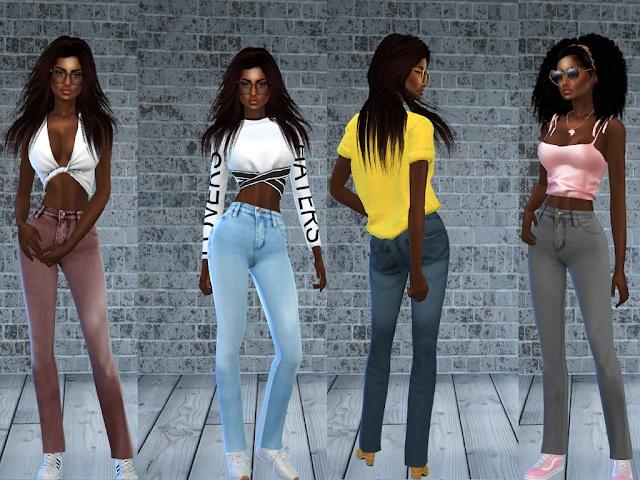 Sims 4 Jeans Bleached Regular & Skinny Waist at Teenageeaglerunner