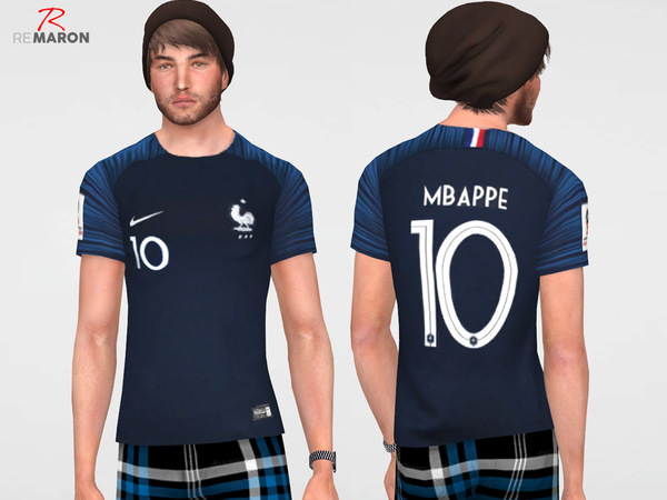 France World Cup shirt for men by remaron at TSR image 1106 Sims 4 Updates