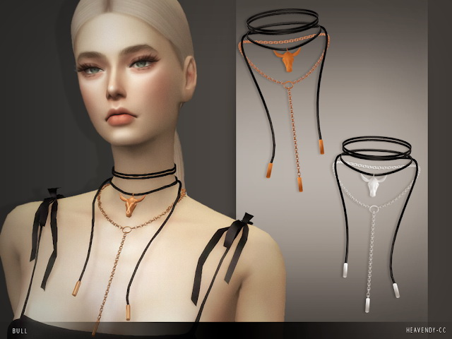 Sims 4 Bull Necklace at Heavendy cc