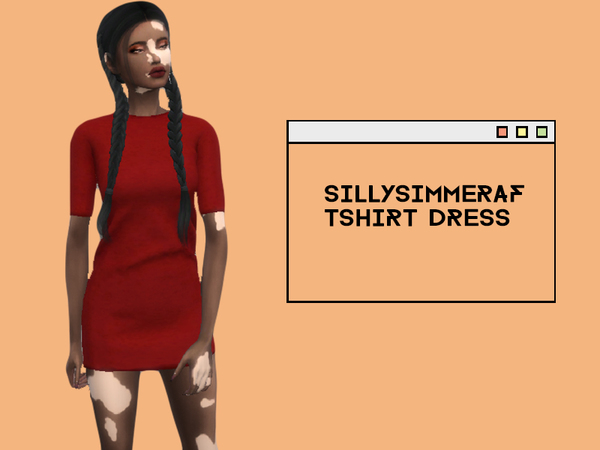 Sims 4 Pajama Tshirt Dress by SillySimmerAf at TSR