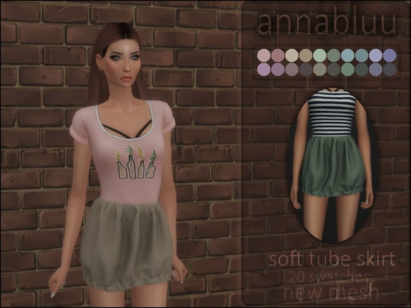 Soft Tube Skirt by Annabluu at TSR image 1237 Sims 4 Updates