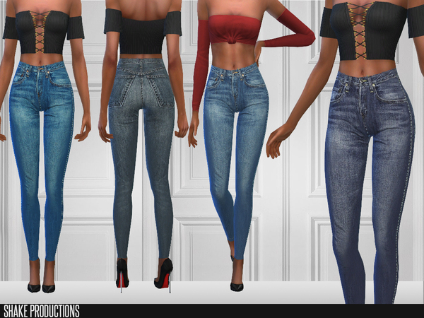 Sims 4 149 High waisted jeans by ShakeProductions at TSR