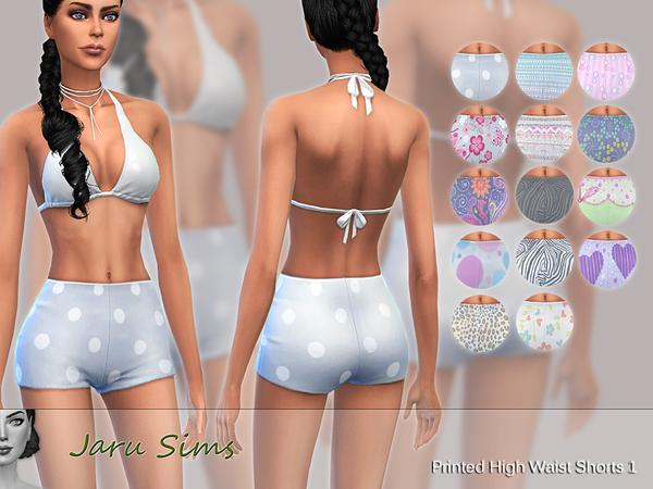 Sims 4 Printed High Waist Shorts 1 by Jaru Sims at TSR