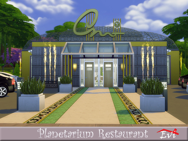 Sims 4 Planetarium Restaurant by evi at TSR