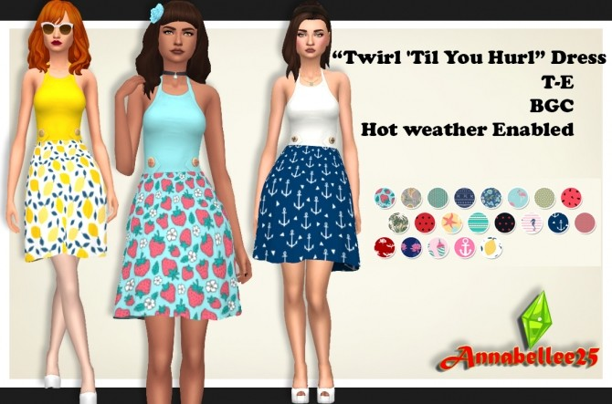 Sims 4 Twirl Til You Hurl Dress by Annabellee25 at SimsWorkshop