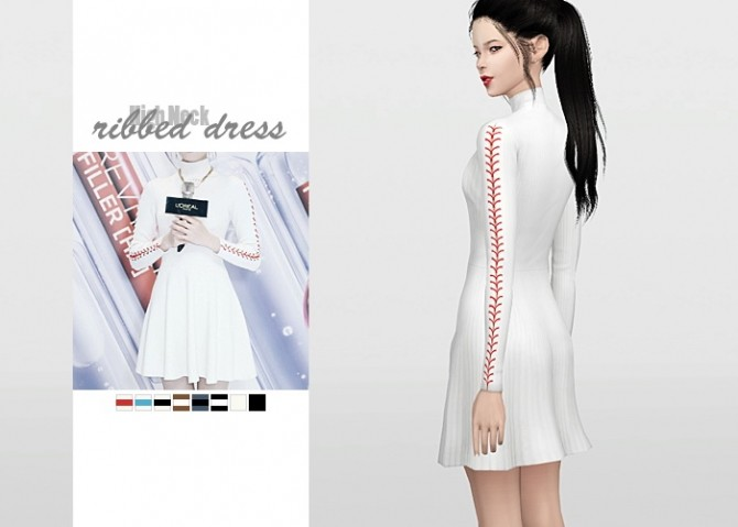 High Neck Ribbed Dress at Waekey image 1399 670x479 Sims 4 Updates