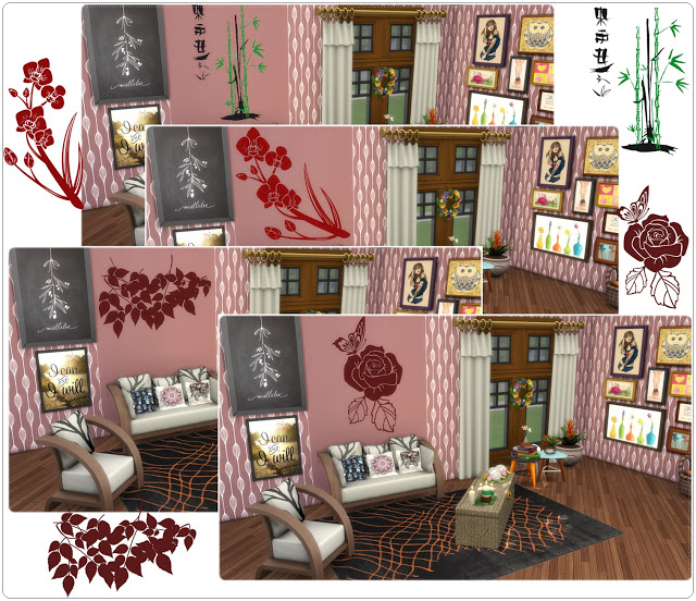 Sims 4 Wall Deco Flowers at Annett's Sims 4 Welt