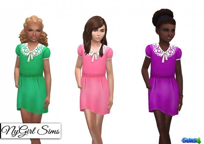 Collar and Bow Dress for Girls at NyGirl Sims image 1451 670x474 Sims 4 Updates