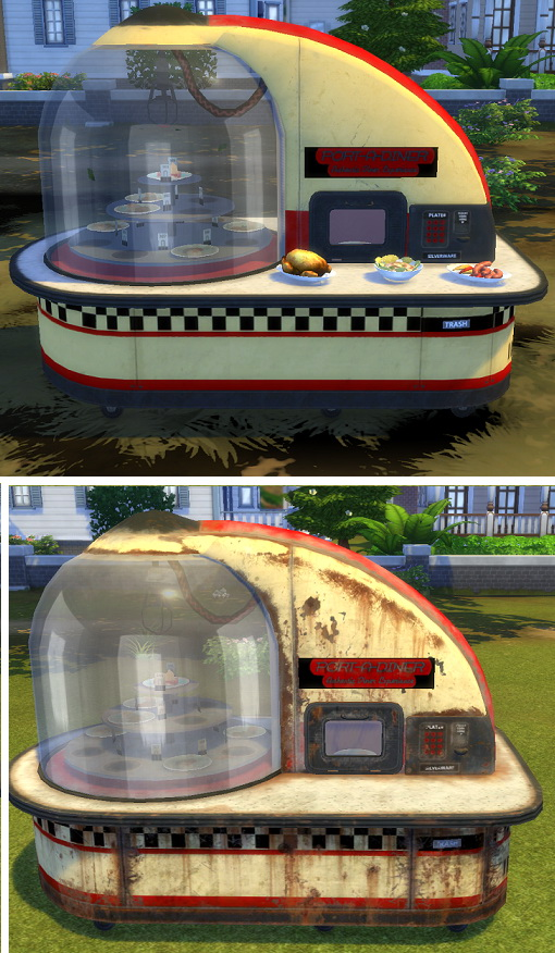 Fallout 4 Port A Diner (Buffet Table) by BigUglyHag at SimsWorkshop image 151 Sims 4 Updates