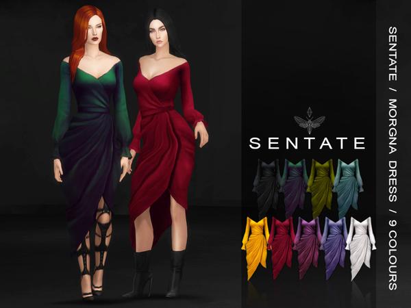 Sims 4 Morgana Wrap Dress by Sentate at TSR