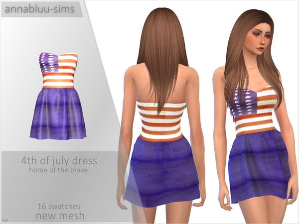 Sims 4 4th of July Dress by Annabluu at TSR