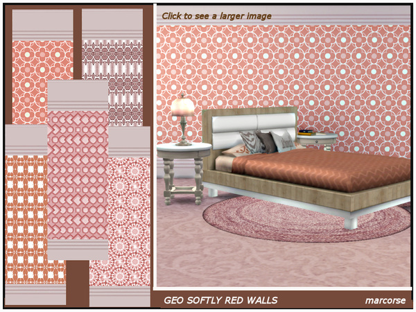 Sims 4 Geo Softly Red Walls by marcorse at TSR