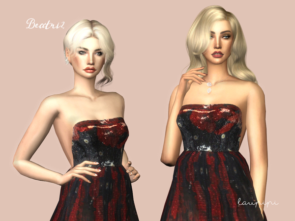 Sims 4 Beatriz gown by laupipi at TSR