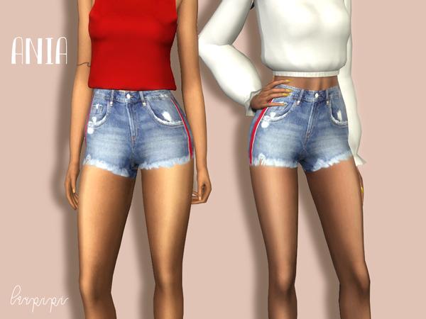 Sims 4 Ania denim shorts by laupipi at TSR