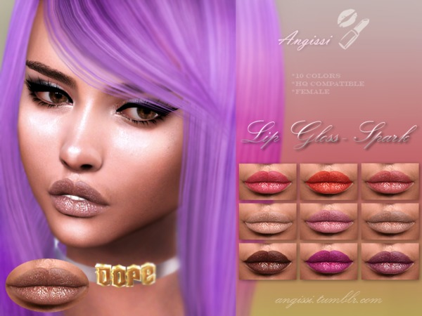 Lip Gloss Spark by ANGISSI at TSR image 177 Sims 4 Updates