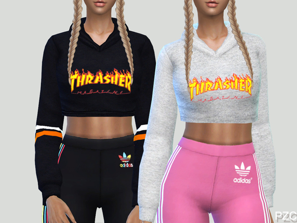 Sims 4 Thrasher Sporty Hoodie by Pinkzombiecupcakes at TSR