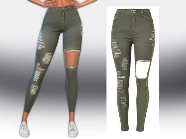Army Green Ripped Jeans by Saliwa at TSR image 1820 Sims 4 Updates