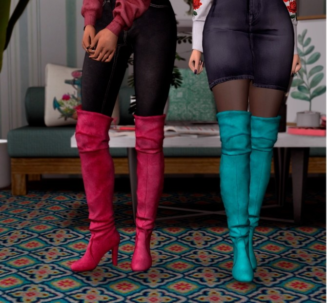 Sims 4 Hff Sims Suede Hight Boots Conversion at Astya96