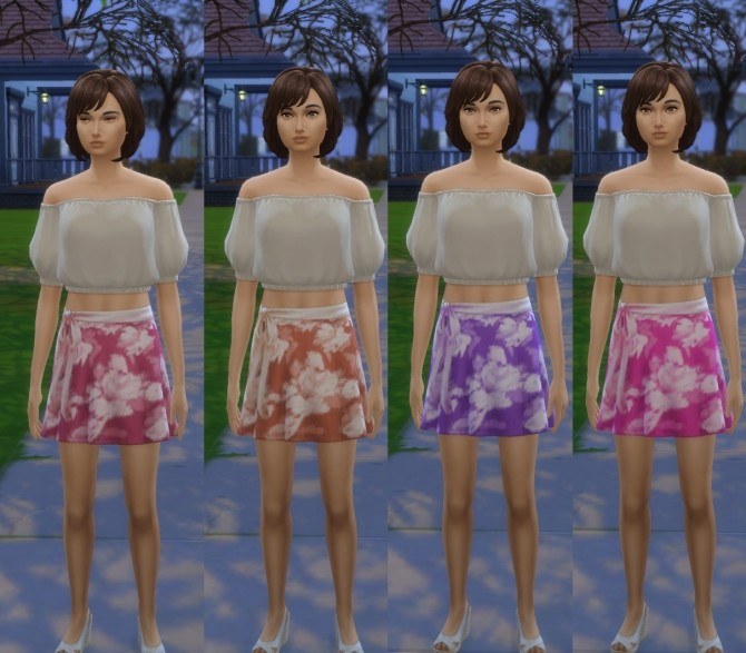 Sims 4 Bow Tie Skirt 4 Colours by wendy35pearly at Mod The Sims