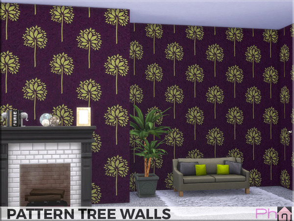 Sims 4 Pattern Tree Walls by Pinkfizzzzz at TSR