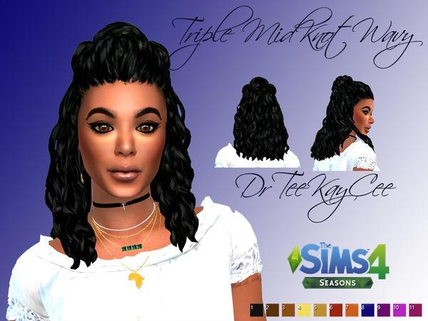 Sims 4 Triple Midknot Wavy Hair by drteekaycee at TSR